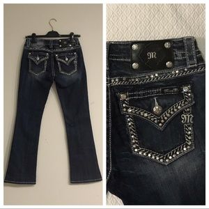 Miss Me I Mid-Rise Boot Cut Flare Studded Jeans 27